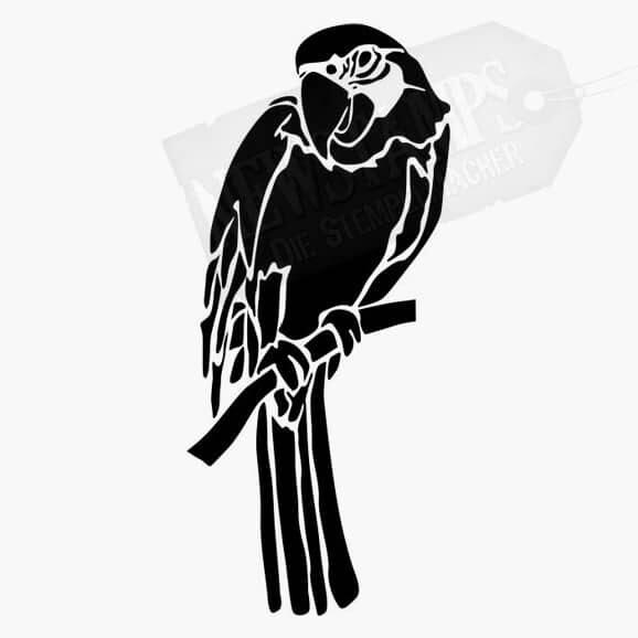 Papagei auf Stange Tierstempel