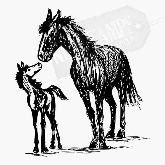 Pferd mit Fohlen Tierstempel