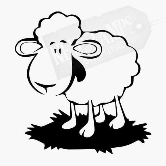 Lustiges Schaf auf Wiese Tierstempel