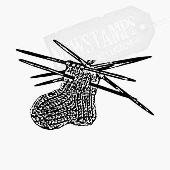 Motivstempel Socke Angefangens Sockenmotiv mit vier Stricknadeln
