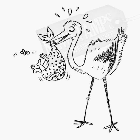 Storch hält Baby im Stoffbündel im Schnabel Baby wirft Schnuller weg Tierstempel