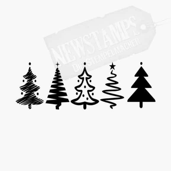 Fünf verschiedene gleich große Tannenbäumchen in einer Reihe Weihnachtsstempel