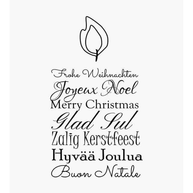 Weihnachtsstempel Frohe Weihnachten in 7 verschiedenen Sprachen in Form einer brennenden Kerze