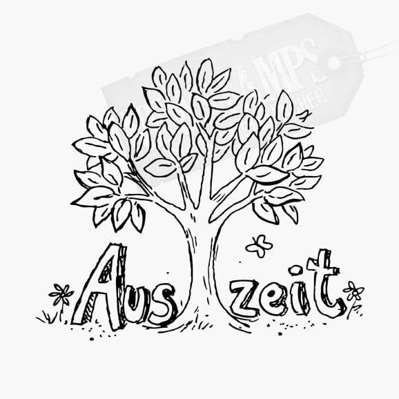 Auszeit Spruch mit Baum Motivstempel