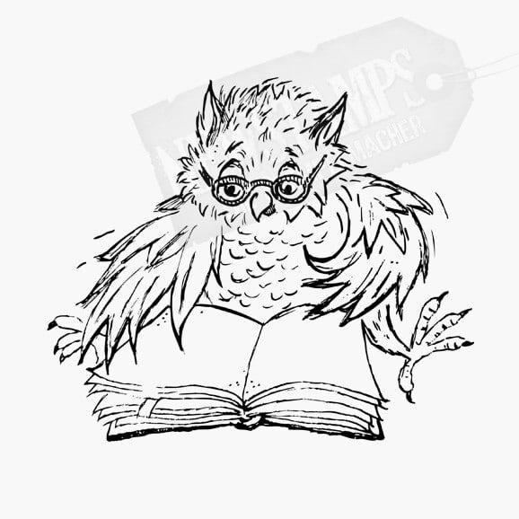 Eule mit Brille liest im Buch Motivstempel