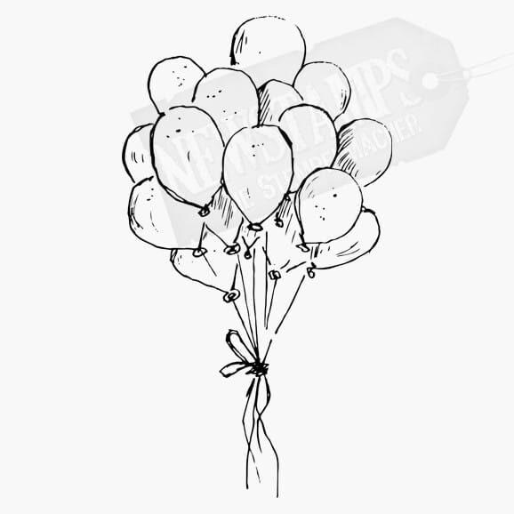 Luftballons als Bündel Motivstempel