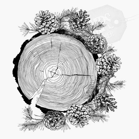 Weihnachtsstempel Baumscheibe mit Tannenzweigen und Tannenzapfen