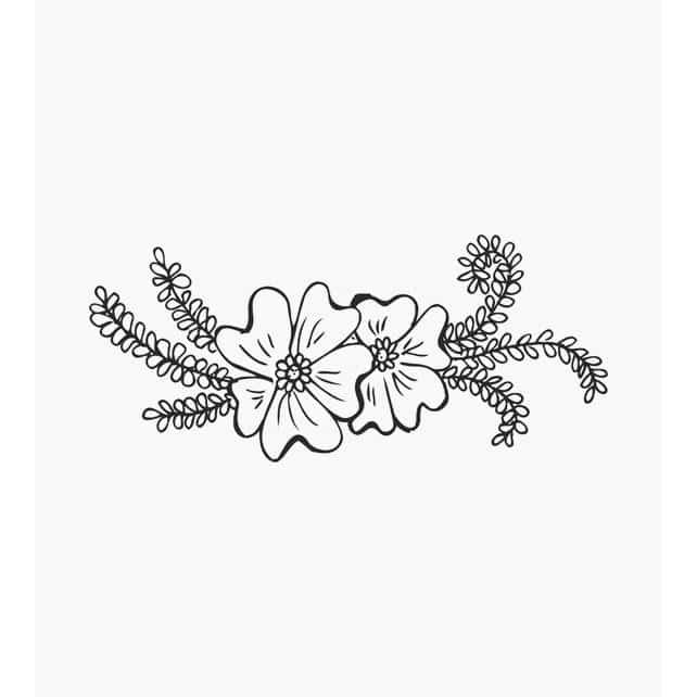 Blumenstempel zwei Blüten mit grünen Ranken
