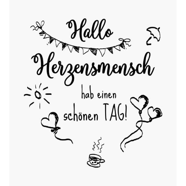 Spruchstempel Hallo Herzensmensch hab einen schönen Tag Fahnengirlande Herzen mit schnur und Kaffeetasse,Regenschirm und Sonne