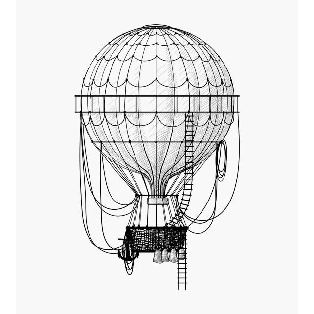 Heissluftballon mit Seilen und Korb Motivstempel