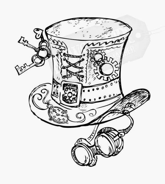 Zylinder verziert mit Schlüsseln und Schweißerbrille Steampunk Motivstempel