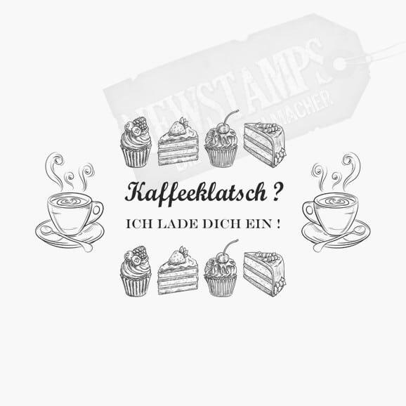 2 Kaffeetassen Cupcakes und Tortenstücke jeweils oben und unten dazwischen Kaffeeklatsch ? Ich lade Dich ein Spruchstempel