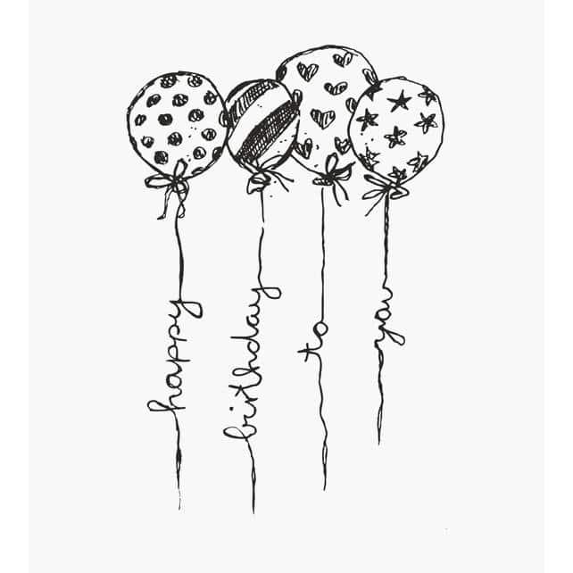 4 Luftballons mit unterschiedlichem Muster Punkte,Sterne,Streifen und Herzen Motivstempelan den Ballonleinen steht Happy Birthday to you in Schnörkelschrift