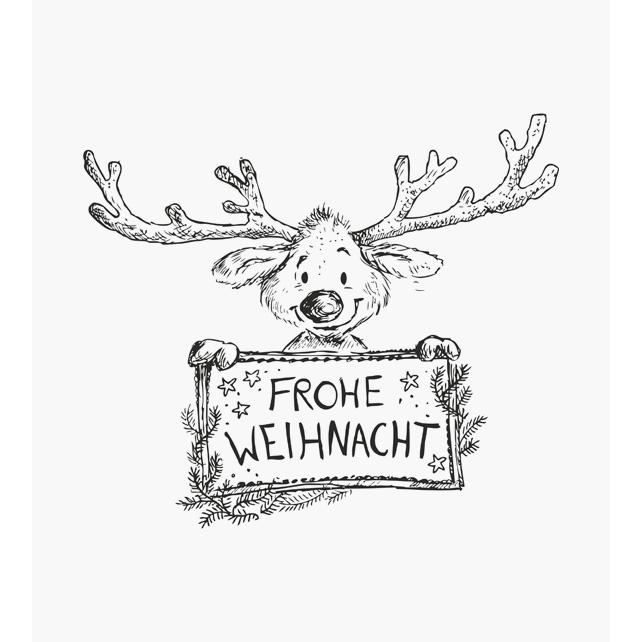 Rudi ein kleiner süsser Elch mit dicker Nase und großem Geweih hält eine Tafel in der Hand mit der Aufschrift Frohe Weihnacht Weihnachtsstempel