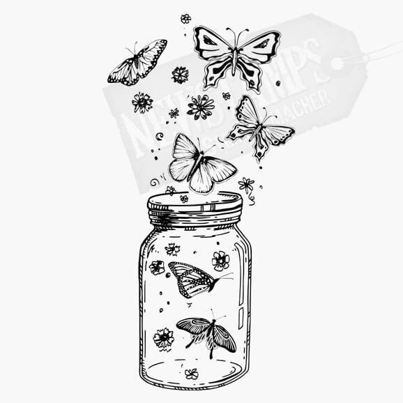 Schraubglas mit verschiedenenen Schmetterlingen die herausfliegen Motivstempel