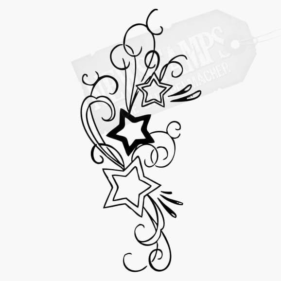 verschiedene Sterne und Schnörkel Motivstempel