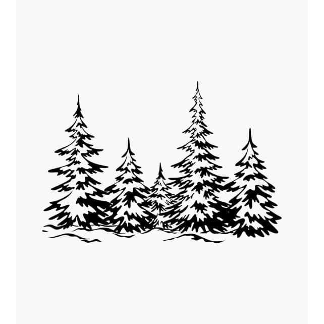 5 Tannen schneebedeckt in verschiedenen Größen Weihnachtsstempel