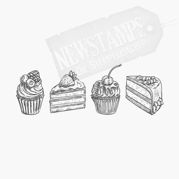 2 Kuchenstücke und 2 Cupcakes abwechselnd nebeneinander Motivstempel