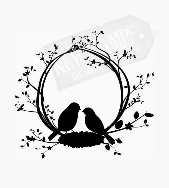 Zwei Vögel im Nest sitzend mit Ranke aus Zweigen Motivstempel Hochzeitsstempel