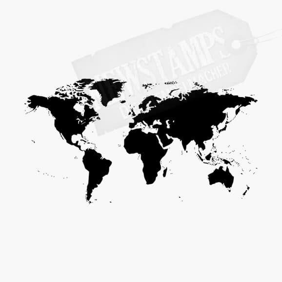 Weltkarte mit schwarzen Kontinenten Motivstempel