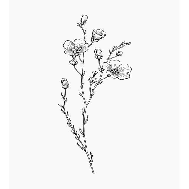 Wiesenblumenzweig mit unterschiedlichen Blüten Motivstempel