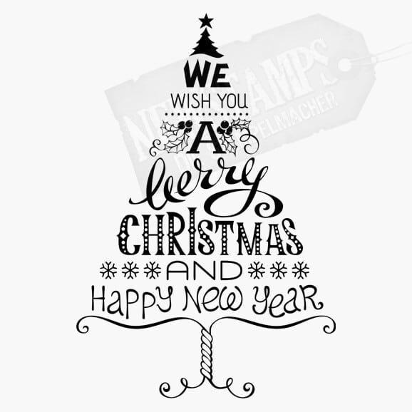 Weihnachtsbaum aus den worten We wish you a merry christmas and a happy new year Weihnachtsstempel