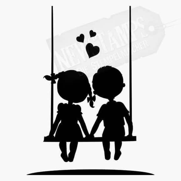 Junge und Mädchen sitzen zusammen auf Schaukel Herzen Hochzeitsstempel Motivstempel
