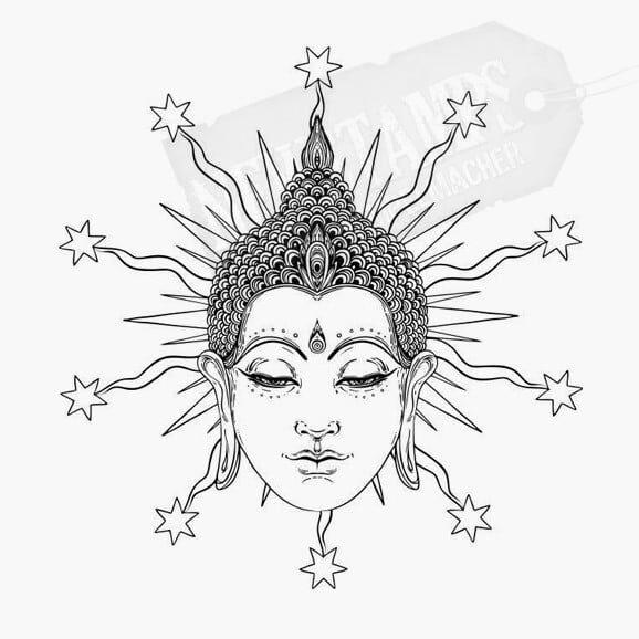 Motivstempel Buddhakopf hinter dem Strahlen mit Sternen erscheinen