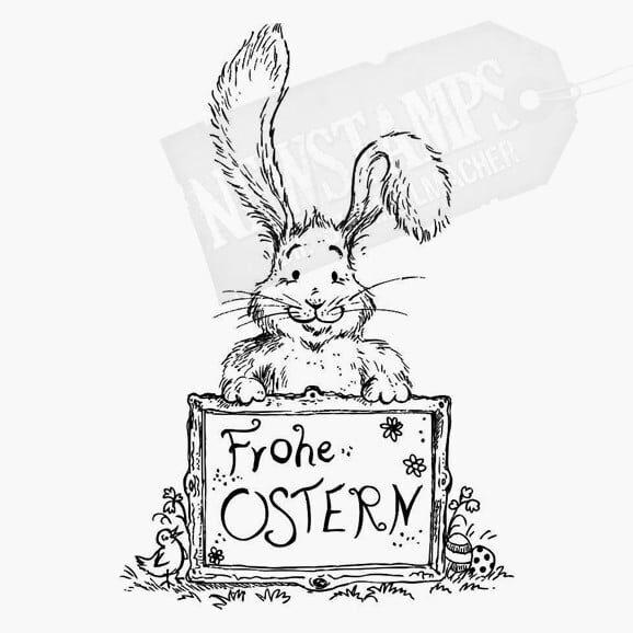 Motivstempel Ostern Hase hält ein Schild auf dem Frohe Ostern steht
