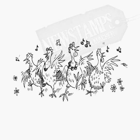 Vier gackernde Hühner die Tanzen Motivstempel
