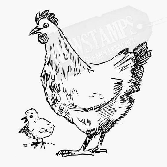 Eine Henne mit Küken die nach links gucken Motivstempel