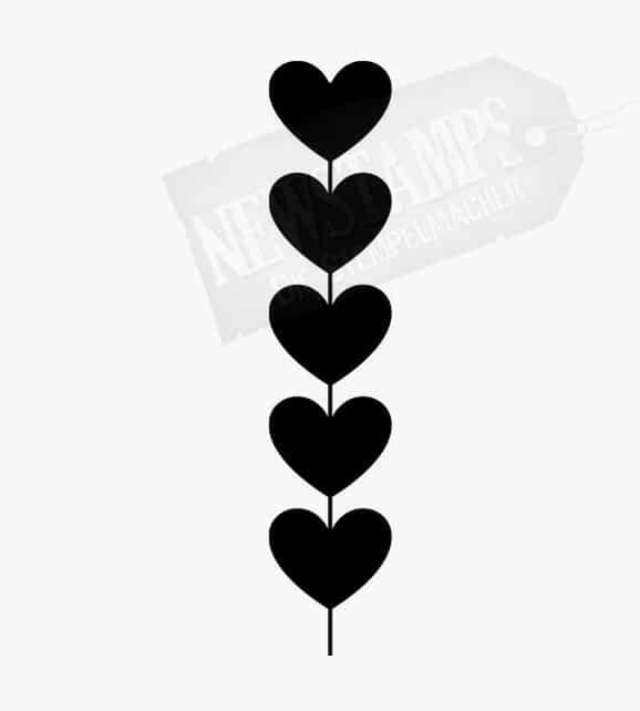 fünf gleichgroße Herzen aneinander gereiht Motivstempel