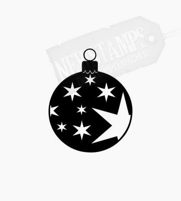 Christbaumkugel mit mehreren Sternen Motivstempel Weihnachten