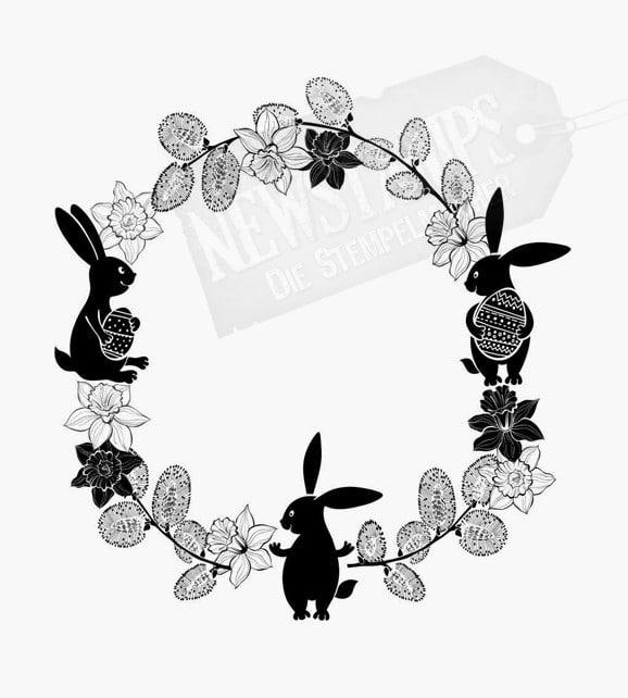 Motivstempel Ostern Kreis mit Blumen und Osterhasen