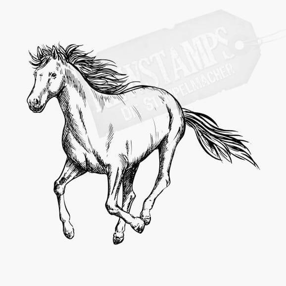 Ein galoppierendes Pferd Tierstempel Motivstempel