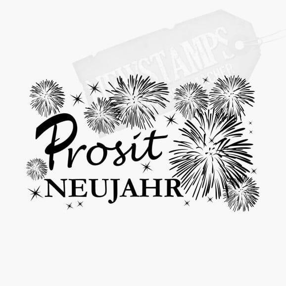 Spruchstempel Prosit Neujahr mit Feuerwerk