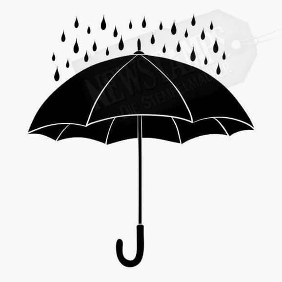 Regenschirm mit Regentropfen Motivstempel