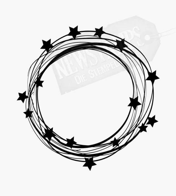 Motivstempel Viele dünne Linien als Kreis mit Sternen verziert Weihnachtsstempel