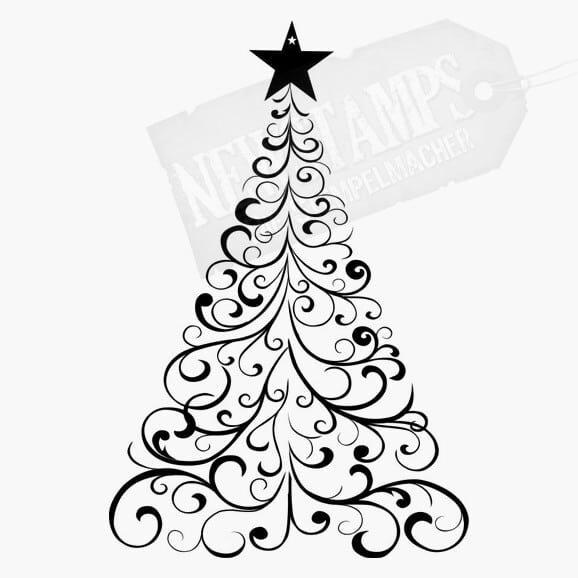 Weihnachtsbaum aus vielen Schnörkeln mit Stern an der Spitze Motivstempel