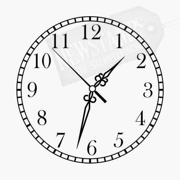 Motivstempel Runde Uhr mit Zahlen und Zeiger