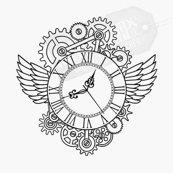 Uhrwerk mit Flügeln und einer Uhr in der Mitte Motivstempel Steampunk