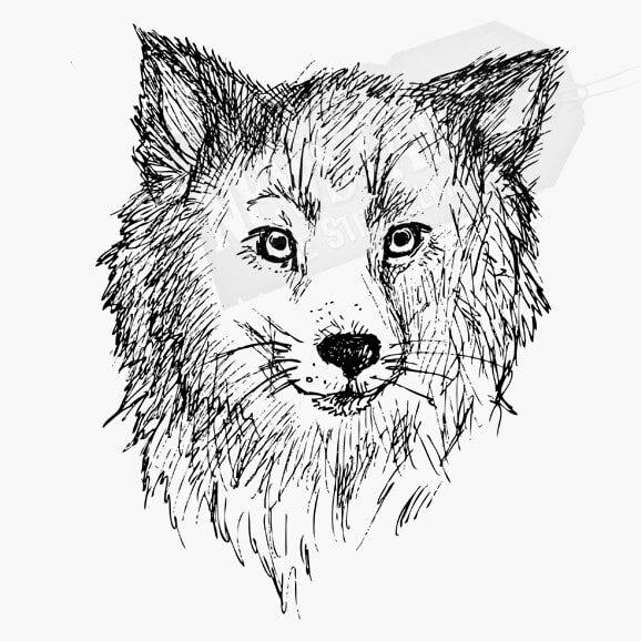 Ein Wolf als Tier Stempel als Motivstempel