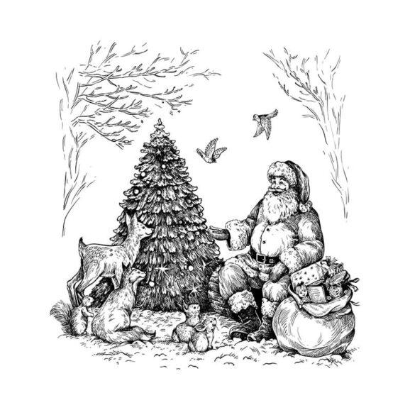 w106-weihnachtsmann-im-wald-newstamps-webshop-stempel-weiss